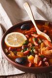 Russian cuisine soup solyanka closeup on the table. vertical Stock Images