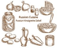 Russian cuisine, russian vinaigrette salad, ingredients, vector. Sketch drawing Royalty Free Stock Photography