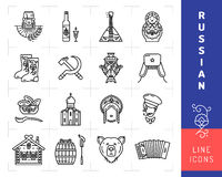 Russian culture black thin line icons. Russia traditional vector symbols Royalty Free Stock Images