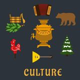 Russian culture flat icons set Royalty Free Stock Images