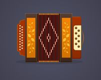 Russian culture music. Modern musical instrument accordion. Classic accordion, harmonious sound. Realistic keyboard wooden musical instrument. Vector royalty free illustration