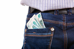 Russian Currency in the back Pocket Royalty Free Stock Images