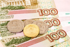 Russian currency: banknotes and coins Stock Image
