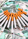 Russian Currency and a Cigarettes Stock Images