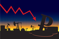 Russian currency decline graph. On oil pump silhouettes landscape background Royalty Free Stock Photo