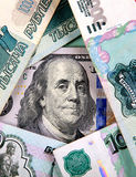 Russian Currency and Dollars Stock Image