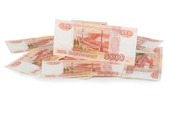 Russian currency - heap of russian ruble banknotes Stock Images