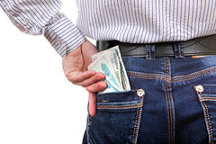 Russian Currency in the Pocket Royalty Free Stock Photo