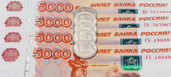 Russian currency, rouble: banknotes and coins Royalty Free Stock Image