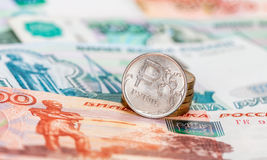 Russian currency, rouble: banknotes and coins Royalty Free Stock Photo