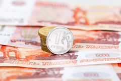 Russian currency, rouble: banknotes and coins Stock Photos