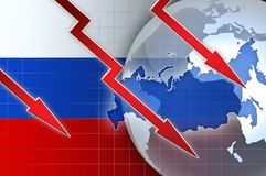 Russian currency ruble crisis - concept news background Stock Photo