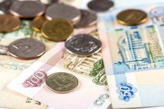 Russian currency ruble devaluation. Devaluation of national currency in Russian Federation Royalty Free Stock Image