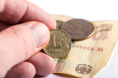 Russian currency ruble devaluation Stock Image