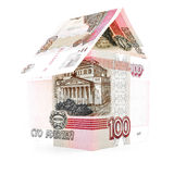 Russian currency ruble office, rouble banknote home isolated, white background Royalty Free Stock Image