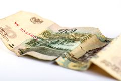 Russian currency ruble. Selective focus Royalty Free Stock Image