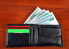 Russian Currency in the Wallet. On the Table closeup Royalty Free Stock Image