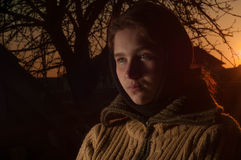 Russian cute girl peasant woman in a warm shawl Stock Images