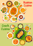 Russian and czech cuisine icon set for food design Royalty Free Stock Photos