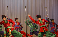 Russian dance of warriors Stock Photography