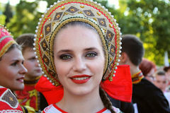 Russian dancer in traditional costume at the International Folklore Festival for Children and Youth Golden Fish. TULCEA, ROMANIA - AUGUST 08: Russian dancer in royalty free stock image