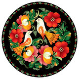 Russian Decor. Russian folk handicraft painting on tray in , Russian decor, tradition folk ornament with bird and flowers in round, Souvenir from Russia, present stock illustration