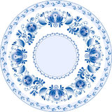 Russian decorative ornamental plate. Ghzel Stock Photography