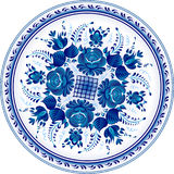 Russian decorative ornamental plate. Gzhel Royalty Free Stock Photos