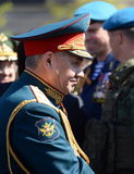 The Russian defense Minister, army General Sergei Shoigu, welcomed the officers after the General rehearsal of military parade of. MOSCOW, RUSSIA - MAY 07, 2017 Stock Photography