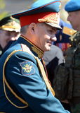 The Russian defense Minister, army General Sergei Shoigu, welcomed the officers after the General rehearsal of military parade of. MOSCOW, RUSSIA - MAY 07, 2017 Stock Photo