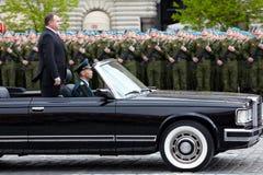 Russian defense minister A.Serdyukov ride Stock Image