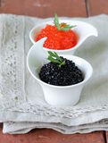 Russian delicacy red and black caviar Royalty Free Stock Photography