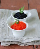 Russian delicacy red and black caviar Royalty Free Stock Photos