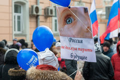 Russian demonstrators holding posters royalty free stock photography