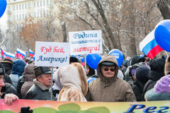 Russian demonstrators holding posters Stock Photo