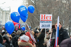 Russian demonstrators with poster with text No to  Royalty Free Stock Photos