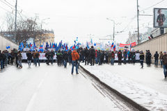 Russian demonstrators rally Royalty Free Stock Photos