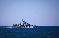 Russian destroyer. Warship on assignment in ocean Royalty Free Stock Photography