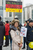 Russian Diaspora in Berlin protesting against migrants and refugees due to the sexual abuse of women and children. Royalty Free Stock Photography