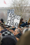 Russian Diaspora in Berlin protesting against migrants and refugees due to the sexual abuse of women and children. Stock Photos