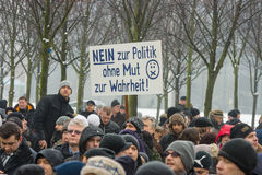 Russian Diaspora in Berlin protesting against migrants and refugees due to the sexual abuse of women and children. Royalty Free Stock Images