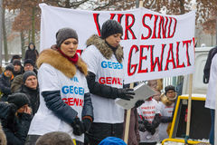 Russian Diaspora in Berlin protesting against migrants and refugees due to the sexual abuse of women and children. Stock Photography