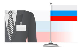 Russian diplomat at the background of the flag Royalty Free Stock Photos