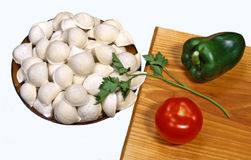 Russian dish - pelmeni. Royalty Free Stock Images