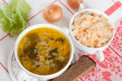 Russian dish - Sauerkraut Soup Stock Photos