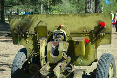 Russian divisional gun ZIS-3 at the exhibition of military equipment in the victory day Stock Photo