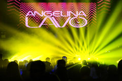 Russian DJ Angelina Lavo performs on the stage Stock Images