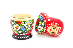 Russian Doll. An opened Russian doll on a white background Stock Images