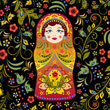 Russian doll. Illustration of seamless pattern with russian doll matryoshka and abstract flowers stock illustration