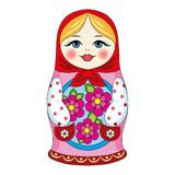 Russian doll. With a beautiful face and flowers folk art souvenir Stock Photos